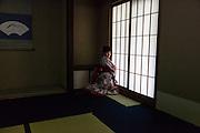 Young girl with kimono during a tea ceremony - [FR] - La cérémonie du thé , chanoyu  - 茶の湯 (« eau chaude pour le thé ») est influencé par le bouddhisme zen. Le silence doit régner et les gestes sont précis. Le maître de cérémonie prépare le thé face aux invités. Ces gestes sont lents et méticuleux. Le macha, thé traditionnel est une poudre verte qui se mélange à l'eau avec énergie avec un outil en bambou en forme de fouet. Tokyo 2015