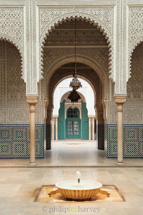 Fountain in courtyard of Mahkama du Pacha in Casablanca, Morocco