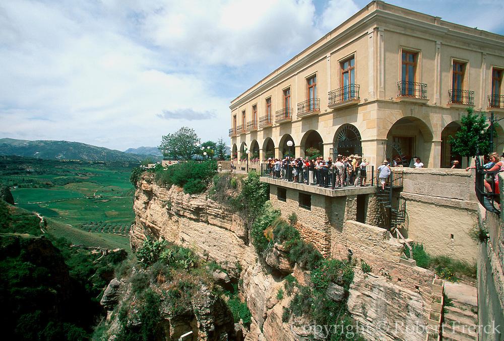 SPAIN, ANDALUSIA, RONDA National Parador above ravine