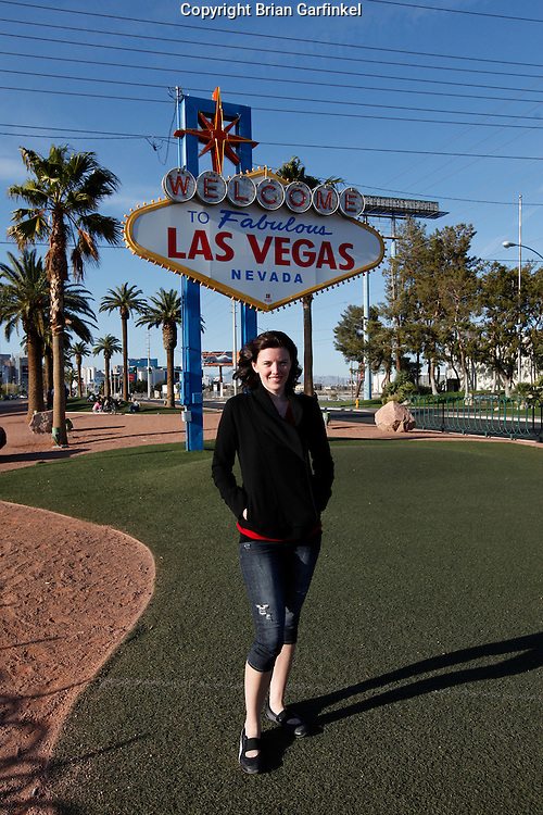 Allison in front of the Las Vegas Sign in Las Vegas, Nevada on March 27th 2011. (Photo By Brian Garfinkel)
