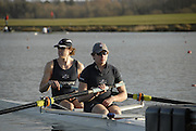 Eton, GREAT BRITAIN,  Karl HUDSPITH (bow), and Constantine LOULOUDIS (stroke), M2-, wait at the Start. GB Trials 3rd Winter assessment at,  Eton Rowing Centre, venue for the 2012 Olympic Rowing Regatta, Trials cut short due to weather conditions forecast for the second day Sunday  13/02/2011   [Photo, Karon Phillips/Intersport-images]