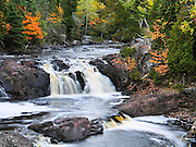 Two Steps Falls, Baptism River, Tettegouche State Park, Minnesota, USA.  Visit this park on the north shore of Lake Superior, 58 miles (93 km) northeast of Duluth in Lake County on scenic Minnesota Highway 61.