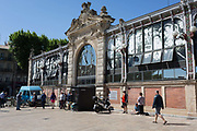 Exterior of Les Halles central market building, on 23rd May, 2017, in Narbonne, Languedoc-Rousillon, south of France.