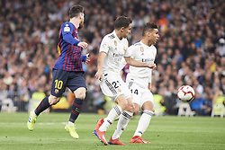 March 2, 2019 - Madrid, Madrid, Spain - Sergio Reguilon (defender; Real Madrid), Lionel Messi (forward; Barcelona), Casemiro (midfielder; Real Madrid) in action during La Liga match between Real Madrid and FC Barcelona at Santiago Bernabeu Stadium on March 3, 2019 in Madrid, Spain (Credit Image: © Jack Abuin/ZUMA Wire)