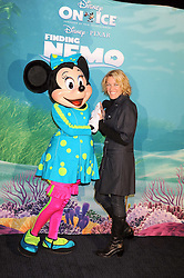 """CERYS MATTHEWS photographed with Minnie Mouse at a VIP Opening night of Disney & Pixar's """"Finding Nemo on Ice"""" at The O2 Arena Grennwich London on 23rd October 2008."""