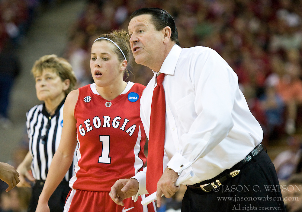 March 27, 2010; Sacramento, CA, USA; Georgia Bulldogs head coach Andy Landers and guard Ashley Houts (1) during the first half against the Stanford Cardinal in the semifinals of the Sacramental regional in the 2010 NCAA womens basketball tournament at ARCO Arena.  Stanford defeated Georgia 73-36.