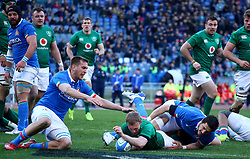 February 24, 2019 - Rome, Italy - Italy v Ireland - Rugby Guinness Six Nations.Keith Earls of Ireland scores a try at Olimpico Stadium in Rome, Italy on February 24, 2019. (Credit Image: © Matteo Ciambelli/NurPhoto via ZUMA Press)