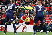 Middlesbrough midfielder Stewart Downing (19) takes a free kick during the EFL Sky Bet Championship match between Middlesbrough and Derby County at the Riverside Stadium, Middlesbrough, England on 27 October 2018.