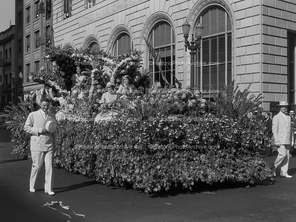 9969-0897. Queen Frances I on her float in the 1932 Rose Festival Parade. June 17, 1932. 6th & Stark