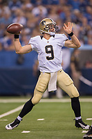 August 23, 2014: New Orleans Saints quarterback Drew Brees (9) passes during a week 3 preseason football game between the Indianapolis Colts vs New Orleans Saints at Lucas Oil Stadium in Indianapolis, IN. NFL American Football Herren USA AUG 23 Preseason - Saints at Colts PUBLICATIONxINxGERxSUIxAUTxHUNxRUSxSWExNORxONLY Icon1408231710<br /> <br /> August 23 2014 New Orleans Saints Quarterback Drew Brees 9 Pass during A Week 3 Preseason Football Game between The Indianapolis Colts vs New Orleans Saints AT Lucas Oil Stage in Indianapolis in NFL American Football men USA Aug 23 Preseason Saints AT Colts PUBLICATIONxINxGERxSUIxAUTxHUNxRUSxSWExNORxONLY