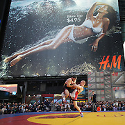 Kyle Snyder, (right), USA, in action against Khadjimurat Gatsalov, Russia, during the 'Beat The Streets' USA Vs The World, International Exhibition Wrestling in Times Square. New York, USA. 7th May 2014. Photo Tim Clayton