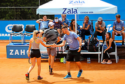 Mika Mlakar celebrate with Nika Radisic and Matic Dimic of team East during Day 2 of tennis tournament Mima Jausovec cup where compete best Slovenian tennis players of the East and West, on June 7, 2020 in RCU Lukovica, Slovenia. Photo by Matic Klansek Velej / Sportida