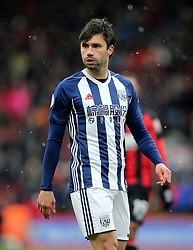 """West Bromwich Albion's Claudio Yacob during the Premier League match at the Vitality Stadium, Bournemouth. PRESS ASSOCIATION Photo. Picture date: Saturday March 17, 2018. See PA story SOCCER Bournemouth. Photo credit should read: Mark Kerton/PA Wire. RESTRICTIONS: EDITORIAL USE ONLY No use with unauthorised audio, video, data, fixture lists, club/league logos or """"live"""" services. Online in-match use limited to 75 images, no video emulation. No use in betting, games or single club/league/player publications."""