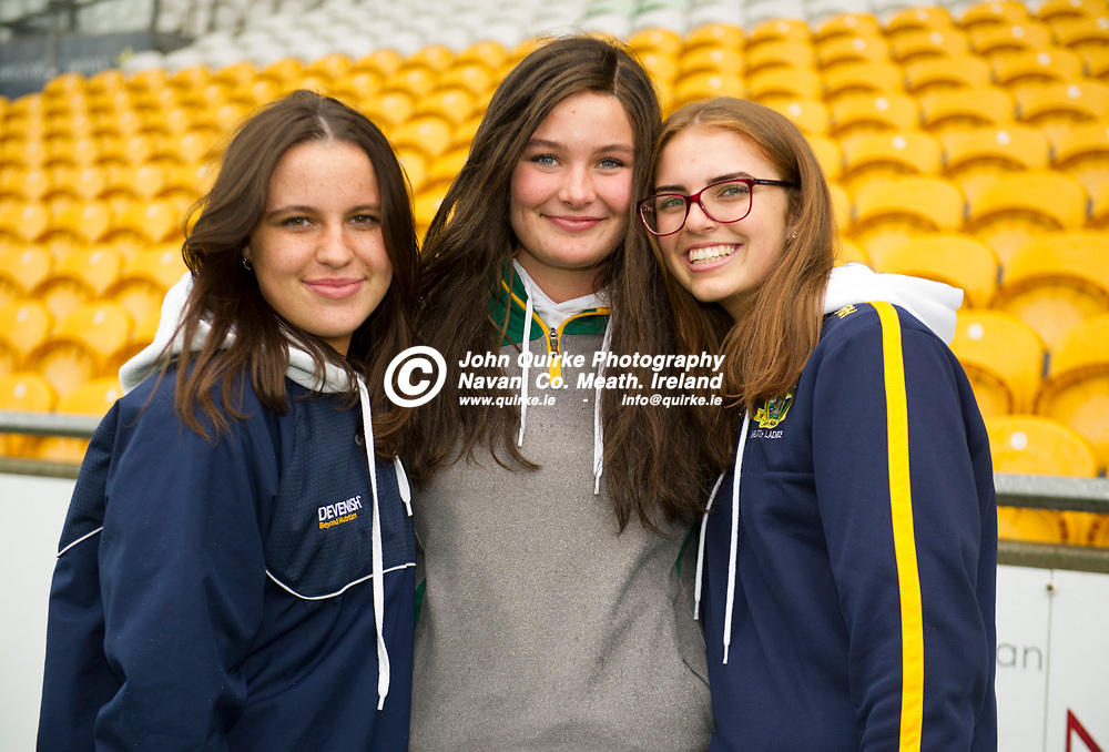 02-08-21. Meath v Dublin - Leinster MFC Final at O'Connor Park, Tullamore.<br /> L to R: Keelin McKeon, Rebecca Harney and Abigail  Dungan from Stamullen were supporting the Meath Minor Footballers in Tullamore.<br /> Photo: John Quirke / www.quirke.ie<br /> ©John Quirke Photography, 16 Proudstown Road, Navan. Co. Meath. (info@quirke.ie / 046-9028461 / 087-2579454).