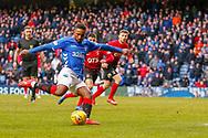Rangers Substitute Jermain Defoe shoots towards goal during the Ladbrokes Scottish Premiership match between Rangers and Kilmarnock at Ibrox, Glasgow, Scotland on 16 March 2019.