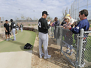 GLENDALE, AZ - FEBRUARY 24:  Freddy Garcia #43 of Chicago White Sox signs autographs after a spring training workout on February 24, 2010 at the White Sox training facility at Camelback Ranch in Glendale, Arizona. (Photo by Ron Vesely)