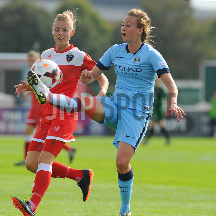 Bristol Academy Womens' Sophie Ingle goes in for a challenge. - Photo mandatory by-line: Nizaam Jones- Mobile: 07583 387221 - 28/09/2014 - SPORT - Women's Football - Bristol - SGS Wise Campus - BAWFC v Man City Ladies - sport
