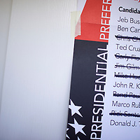 """Walterboro, SC - FEBRUARY 20:  Former Republican Presidential candidates are crossed off a poster within the Aimwell Presbyterian Church polling precinct in Walterboro, SC on February 20, 2016.  Statewide voters will cast ballots today in the South Carolina Republican Presidential Primary, the """"first in the south.""""  (Photo by Mark Makela/Getty Images)"""