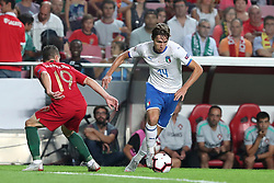 September 10, 2018 - Lisbon, Portugal - Italy's forward Federico Chiesa (R ) vies with Portugal's defender Mario Rui during the UEFA Nations League A group 3 football match Portugal vs Italy at the Luz stadium in Lisbon, Portugal on September 10, 2018. (Credit Image: © Pedro Fiuza/NurPhoto/ZUMA Press)