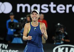 January 27, 2018 - Melbourne, Australia - Caroline Wozniacki cries after winning Tennis 2018: Australian Open: Women's Singles Final. (Credit Image: © Panoramic via ZUMA Press)