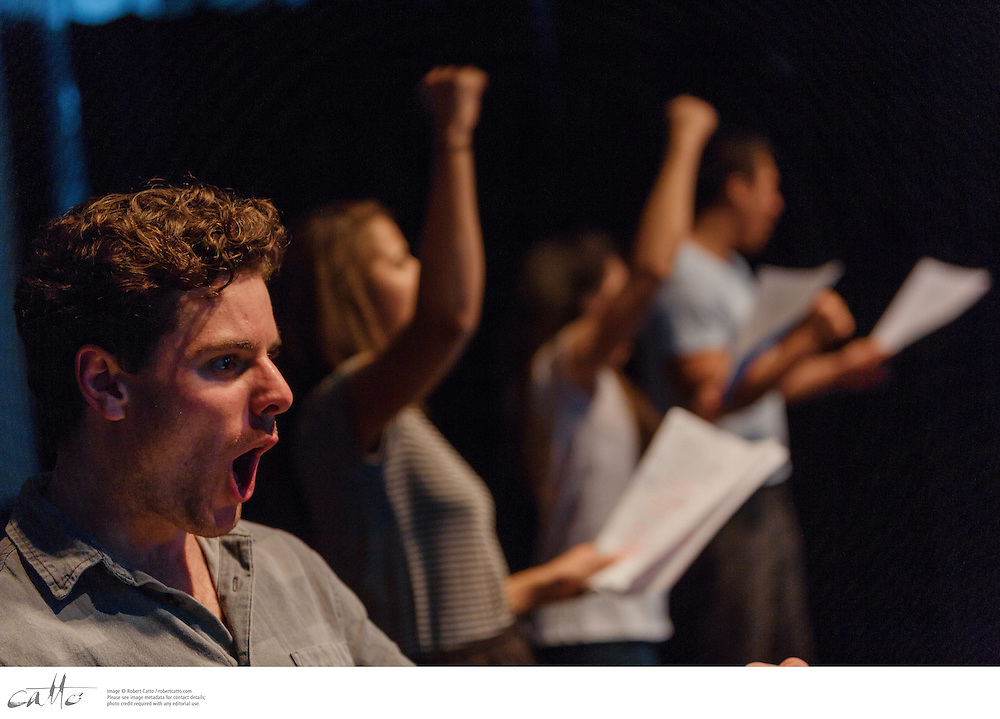 For 12 nights across two weeks, old 505 theatre will come alive with new australian works that explore what it means to seek asylum.<br /> <br /> Operation Sovereign Borders was the policy the Coalition government took to the September 2013 Federal election - a military-led response to 'combat people smuggling and protect Australia's borders'.<br /> <br /> Playwrights from across the country have been invited to create new plays that respond to one of the most contested ideas in Australia's identity. How will our stage respond to Operation Sovereign Borders? What do our great storytellers have to say? The selected plays have been matched to directors and actors for two weeks of quick-response theatre.<br /> <br /> Plays in Block 4:<br /> fitting into wageni - irene assumpter<br /> Directed by Cathy Hunt<br /> With Ildiko Susany, Felino Dolloso, Michael Brindley, Daniel Monks and Neil Phipps<br /> <br /> going for gold - noëlle janaczewska<br /> Directed by Michelle Miall<br /> With Chris Fung, Courtney Stewart-Smith, Kirsty Marillier and Michael Wood<br /> <br /> where the breath is kept - laura lethlean<br /> Directed by Michelle Miall<br /> With Chris Fung, Courtney Stewart-Smith, Kirsty Marillier and Michael Wood<br /> <br /> Darker Angels - Ross Mueller<br /> Directed by Dino Dimitriadis<br /> With Georgina Capper and Michael Cullen<br /> <br /> these people - sheila pham<br /> Directed by Cathy Hunt<br /> With Kathryn Yuen <br /> <br /> nil by sea - katie pollock<br /> Directed by Kate Gaul<br /> With Felino Dolloso, Alex Bryant, Suz Mawer and Lynda Leavers<br /> <br /> Taken on Thursday 12 February, 2015.