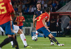 September 11, 2018 - Elche, U.S. - ELCHE, SPAIN - SEPTEMBER 11: Ivan Rakitik midfielder of Croatia competes for the ball with Sergio Busquets midfielder of Spain during the UEFA Nations League A Group four match between Spain and Croatia on September 11, 2018, at Estadio Manuel Martinez Valero in Elche, Spain. (Photo by Carlos Sanchez Martinez/Icon Sportswire) (Credit Image: © Carlos Sanchez Martinez/Icon SMI via ZUMA Press)