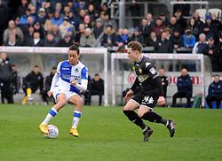 Kyle Bennett of Bristol Rovers is challenged by Callum Styles of Bury - Mandatory by-line: Neil Brookman/JMP - 30/03/2018 - FOOTBALL - Memorial Stadium - Bristol, England - Bristol Rovers v Bury - Sky Bet League One