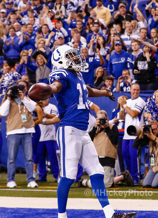 INDIANAPOLIS, IN - NOVEMBER 29 : T.Y. Hilton #13 of the Indianapolis Colts reacts after catching a touchdown against the Tampa Bay Buccaneers at Lucas Oil Stadium on November 29, 2015 in Indianapolis, Indiana. Indianapolis defeated Tampa Bay 25-12. (Photo by Michael Hickey/Getty Images) *** Local Caption *** T.Y. Hilton