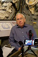 Garden City, New York, U.S. June 6, 2019. MILTON WINDLER, Apollo Flight Director, is interviewed in front of Lunar Module display during Cradle of Aviation Museum's Apollo Astronauts Press Conference during its day of events celebrating 50th Anniversary of Apollo 11.