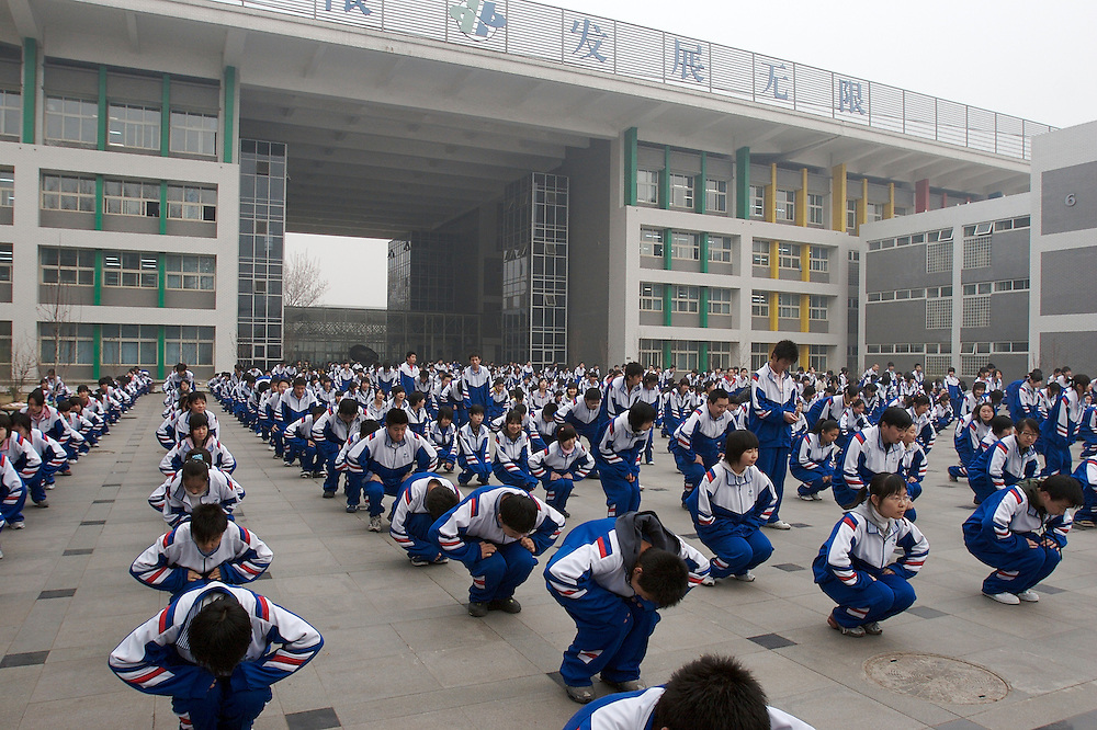 Morning exercises at the No. 11 High School in Beijing, China.