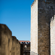 On the ramparts of the castle. Sitting high on a hill overlooking the center of Lisbon, São Jorge Castle (or Castelo de São Jorge or Saint George Castle) is a Moorish castle. Fortifications have existed on the site for thousands of years, and the current distinctive walls date to the 14th century.