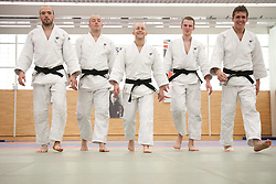 © London News Pictures. 23/08/2012. Dartford, Kent. Judo paralympians L to R - Sam Ingram, Joe Ingram, Ben Quilter, Marc Powell and Dan Powell photocall. Britain's leading judokas from ParalympicsGB in training at their national base in Dartford, Kent before competing on London2012. Picture credit should read Manu Palomeque/LNP