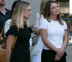 Annie Farmer (L) and Courtney Wild ( right), both women who say they were molested by Jeffrey Epstein when they were teenagers, faced the wealthy sex offender for the first time Monday, inside of a Manhattan courtroom. The two women stand outside the courtroom listening to their lawyers, Brad Edwards and David Boies talk to the media following Monday's hearing. Epstein's bond hearing will be continued Thursday, July 18, 2019 in New York City, NY, USA. Photo by Emily Michot/Miami Herald/TNS/ABACAPRESS.COM
