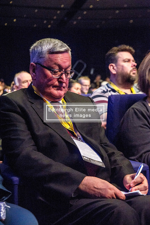 Pictured: Fergus Ewing; MSP; Cabinet Secretary for the Rural Economy and Connectivity.<br /> The members of the SNP gathered in the Scottish Events Centre in Glasgow for their annual conference.<br /> <br /> The Ger Harley   EEm 9 October 2017