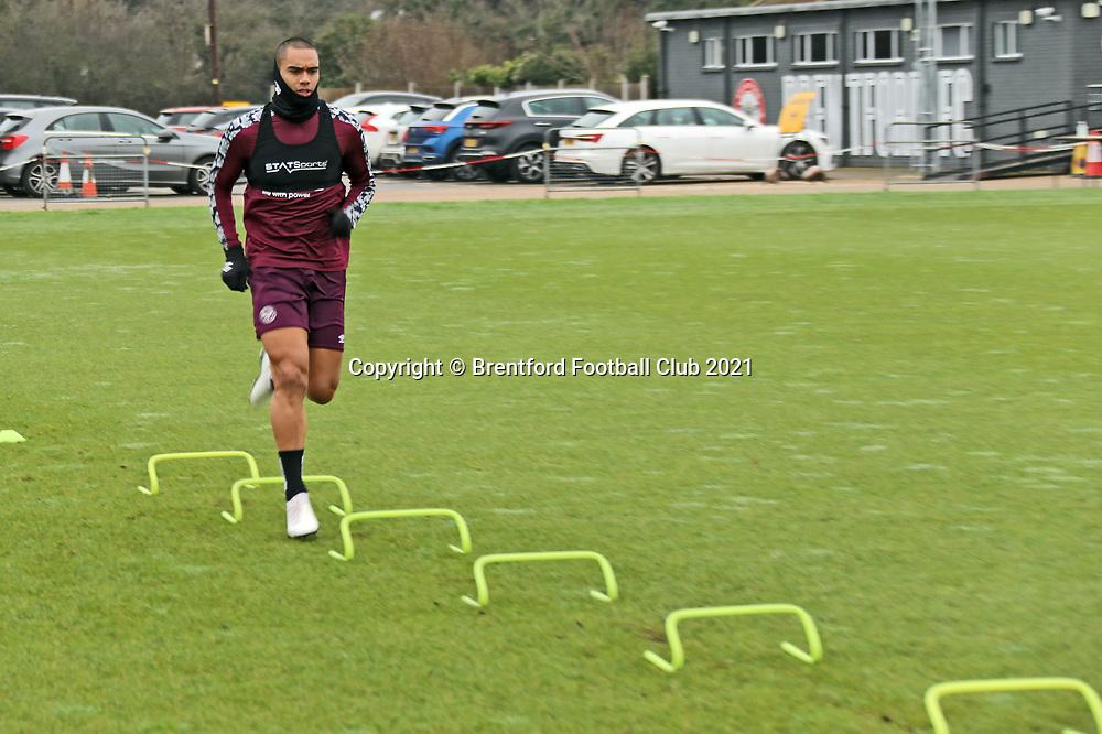 Winston Reid during training for Brentford Football Club in February 2021.<br /> Photo supplied Brentford Football Club.