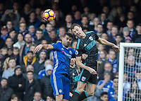 Football - 2016 / 2017 Premier League - Chelsea vs. West Bromwich Albion<br /> <br /> Jonny Evans of West Bromwich Albion and Diego Costa of Chelsea compete for the header at Stamford Bridge.<br /> <br /> COLORSPORT/DANIEL BEARHAM