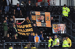 Hull City supports show their displeasure of the clubs ownership