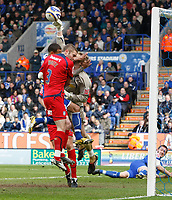 Photo: Steve Bond/Richard Lane Photography. <br />Leicester City v Colchester United. Coca Cola Championship. 12/04/2008. DJ Campbell (bscured) tries to get the ball askeeper Dean Gerken Punches clear.  John White also goes for the ball