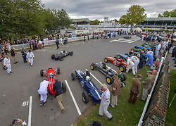 © Licensed to London News Pictures.09/09/2018. Goodwood. West Sussex, UK. <br /> The Goodwood motor circuit celebrates the 20th anniversary of the Revival.The Revival has become one of the biggest annual historic motorsport events in the world and the only one to be staged entirely in period dress. Each year over 150,000 people descend on this quiet corner of West Sussex to enjoy the three-day event. <br /> Photo credit: Ian Whittaker/LNP