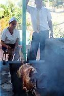 Roasting a pig in Manzanillo, Granma Province, Cuba.