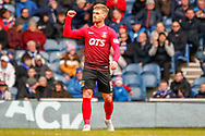 Conor McAleny of Kilmarnock celebrates his early goal during the Ladbrokes Scottish Premiership match between Rangers and Kilmarnock at Ibrox, Glasgow, Scotland on 16 March 2019.