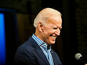 01 MAY 2019 - DES MOINES, IOWA: Vice President JOE BIDEN looks at the crowd gathered for his campaign rally in Des Moines Wednesday night. Biden is running to be the Democratic nominee for the US Presidency in 2020. He is campaigning in Iowa City and Des Moines today. Iowa traditionally hosts the the first selection event of the presidential election cycle. The Iowa Caucuses will be on Feb. 3, 2020.                     PHOTO BY JACK KURTZ