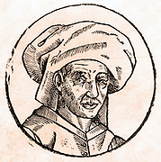 Woodcut of Josquin Desprez (or des Pres) Circa 1611. Copied from an oil painting done during his lifetime, which has since been lost. Alive between 1440-1521, he was a French composer and singer.
