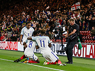 Goal celebration by Josh Ononmah of England during the U21 UEFA EURO first qualifying round match between England and Scotland at the Riverside Stadium, Middlesbrough, England on 6 October 2017. Photo by Paul Thompson.