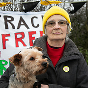 """Jill Walton.<br /> """"I am here because I am a grandmother of two small children and I am horrified at the dangerous dirty nasty horrible effects that this industry can have on our environment and health. In spite of Cuadrilla say they want to work with the community and be transparent we dont know anything. Apparently they are flow testing, but we dont know why they have taken all that equipment off.""""   <br /> It is Green Monday and first week of the second anniversary of Cuadrilla's fracking exploration in Preston New Road. For two years activists have been keeping an eye on the fracking company Cuadrilla from the roadside of the fracking site in Preston New Road. The company has not actively fracked since November and is currently seemingly busy emptiyng the site for heavy equipment. Prostesters and climate protectors are still by the gates trying to work out Cuadrilla's intensions."""