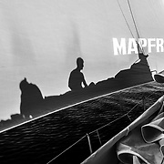 Leg 4, Melbourne to Hong Kong, day 08 on board MAPFRE, shadows, Tamara Echegoyen and Louis Sinclair on top of the sails. Photo by Ugo Fonolla/Volvo Ocean Race. 08 January, 2018.