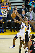 Golden State Warriors guard Patrick McCaw (0) takes the ball to the basket against the Portland Trail Blazers at Oracle Arena in Oakland, Calif., on October 21, 2016. (Stan Olszewski/Special to S.F. Examiner)