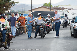 Peter Reeves arrives at the finish on his 1929 Harley-Davidson JD during stage 12 (299 m) of the Motorcycle Cannonball Cross-Country Endurance Run, which on this day ran from Springville, UT to Elko, NV, USA. Wednesday, September 17, 2014.  Photography ©2014 Michael Lichter.