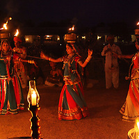 Asia, India, Jaipur. Cultural performance at Dera Amer