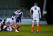 Edinburgh Rugby scrum half Charlie Shiel passes from a ruck during the European Champions Cup match Sale Sharks -V- Edinburgh Rugby at The AJ Bell Stadium, Greater Manchester,England United Kingdom, Saturday, December 19, 2020. (Steve Flynn/Image of Sport)
